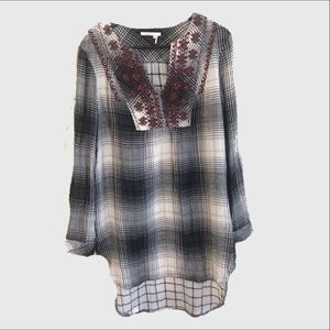 Anthropologie Floreat plaid high low tunic